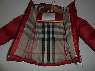 NEW $250 Authen BURBERRY BABY Red Infant Winter Coat Jacket 12 Months girl boy
