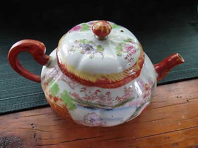 Antique Chinese Oriental Hand Painted Bell Shape Decorated Teapot - Lovely!