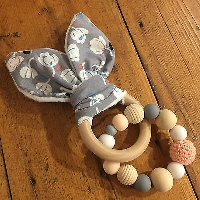 Wood & Silicone Beads,Crinkle Sound Bunny Ears Teething Ring, Grey Floral