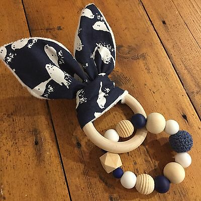 Wood And Silicone Beads,Crinkle Sound Bunny Ears Teething Ring, Navy And White