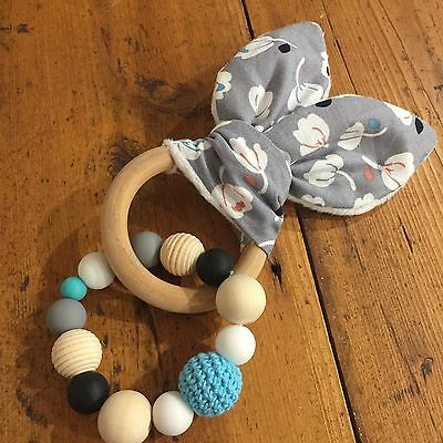 Wood And Silicone Beads,Crinkle Sound Bunny Ears Teething Ring, Grey Floral
