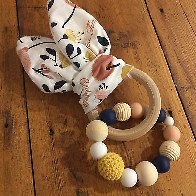 Wood And Silicone Beads,Crinkle Sound Bunny Ears Teething Ring, Tea Time