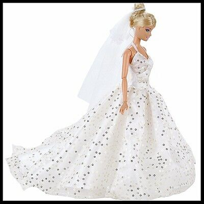 Barbie Doll Clothes - White Sequinned Wedding gown with train & veil & shoes.