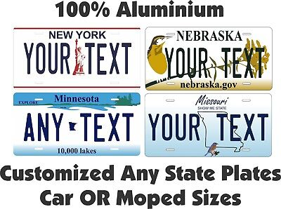 Any State Any Text License Plate Personalized Custom Auto Car Moped Mini Tag