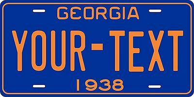 Georgia 1938 License Plate Personalized Custom Car Auto Bike Motorcycle Moped