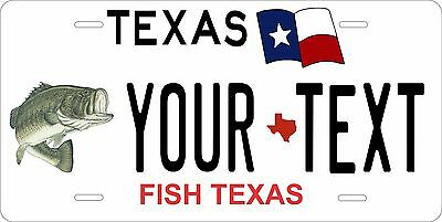 Texas Fish Tag License Plate Personalized Custom Auto Car Bike Moped Motorcycle