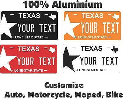 Texas Color Star License Plate Personalized Custom Auto Bike Motorcycle Moped