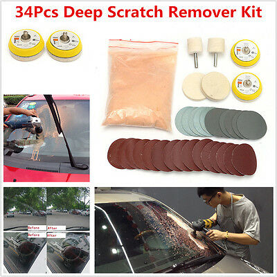 Deep Scratch Remover ,Glass Polishing Kit 8 OZ Cerium Oxide Powder and 2'' Wheel