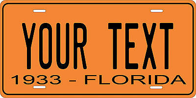 Florida 1933 License Plate Personalized Custom Auto Car Bike Motorcycle Moped