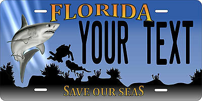 Florida Shark License Plate Personalized Custom Auto Car Bike Motorcycle Moped