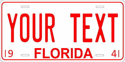 Florida 1941 License Plate Personalized Custom Auto Car Bike Motorcycle Moped
