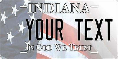 Indiana USA Flag License Plate Personalized Custom Car Bike Motorcycle Moped
