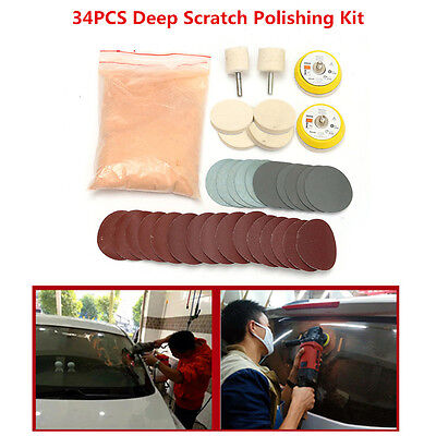 "34Pcs Car Glass Polishing Deep Scratch Remover Kit 8 OZ Cerium Oxide 2"" Wheel"