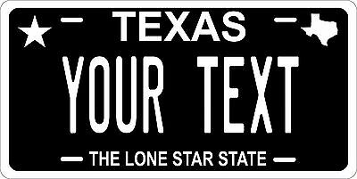 Texas Black License Plate Personalized Custom Car Auto Bike Moped Motorcycle
