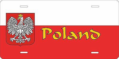 Poland 2 Flag License Plate Personalized Car Auto Bike Moped Motorcycle