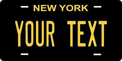 New York Black License Plate Personalized Car Auto Bike Moped Motorcycle Tag