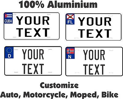 Any Text  Euro Style Personalized Custom Car Bike Moped Motorcycle License plate