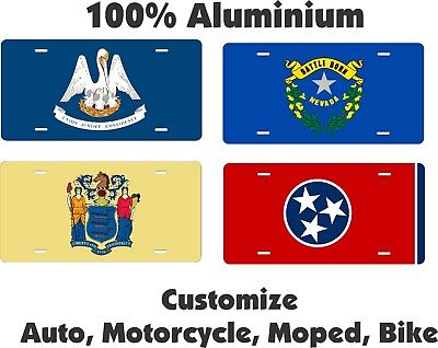 Any State Flag License Plate Personalized Custom Auto Car Bike Moped Motorcycle