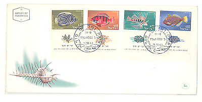 Israel 1963 Fish Set On First Day Cover Very Fine