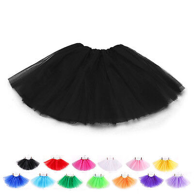 12Inch Length Classic Elastic Tutu Skirt 3 Layered Tulle Toddlers Ballet Dress