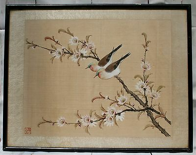 Antique Chinese Oriental Water Colour on Silk, Birds on a Blossom Branch. Signed