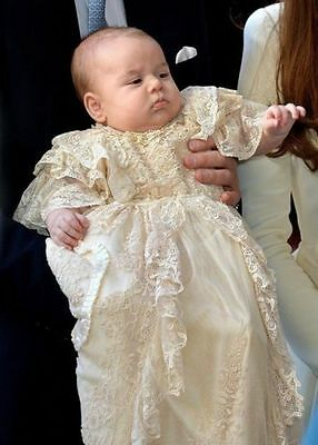 Christening Baptism Dress Gown with Tiered Champagne Lace Prince George