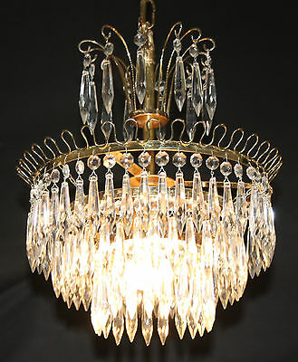 A VINTAGE FRENCH CHANDELIER GLASS  4 TIER WATERFALL CEILING LIGHT (ju26)