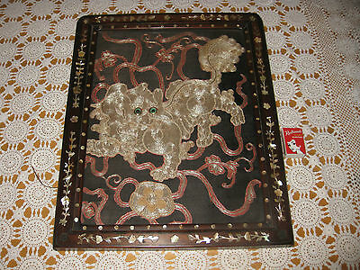 STUNNING CHINESE INLAID ART DOG SCENE intracite work MOTHER OF PEARL & SILK?