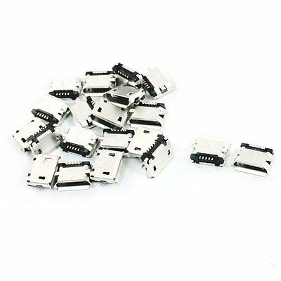 20 pieces DIY Micro-USB 5 pin female connector glass surface, SMD mount PF