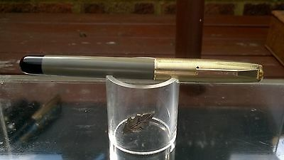 Vintage Mentmore NO. 46 Fountain Pen GREY/BLACK GOLD FILLED  near mint Restored