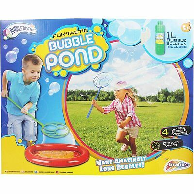 Fun-Tastic Kids Bubble Pond Large Bubbles Wands Fun Summer Water Outdoor Toy