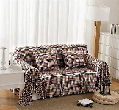 Checked Flannelette Slipcover Sofa Cover LauR Protector for 1 2 3 4 seater bbl