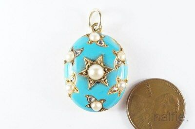 Antique Mid Victorian English 15K Gold Enamel Pearl & Diamond Locket Pendant