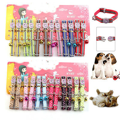 12PCS Pet Cat Safety Buckle Collar Kitten Dog Leash with Bell Reflective /Bubble