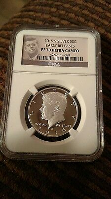 2015 S Silver  Kennedy  Proof Coin Pf 70 Ultra Cameo Er Portrait Label
