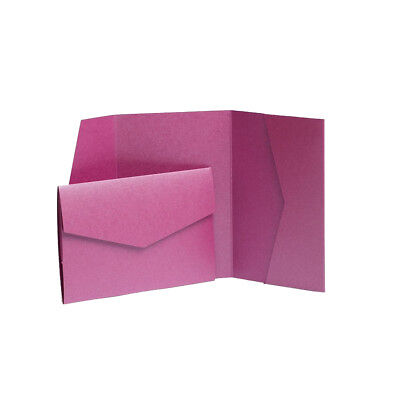Very Berry Pearlescent Cards with envelopes. Pocket Wedding Invites