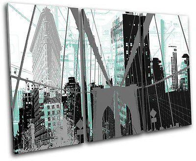 New York City Abstract Modern Urban TREBLE CANVAS WALL ART Picture Print