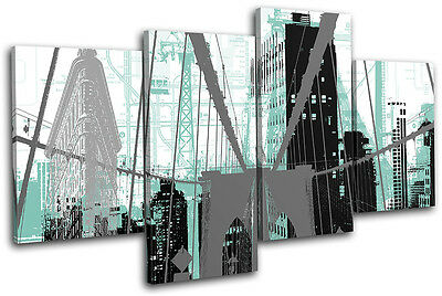 New York City Abstract Modern Urban MULTI CANVAS WALL ART Picture Print