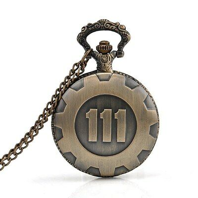Bronze Pocket Watch Fallout 4 Vault 111 Electronic Games Necklace Chain Pen PF
