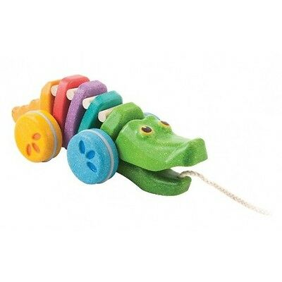 PlanToys Rainbow Dancing Alligator - Plan Toys Wooden Pull Along Kids Toy Gift