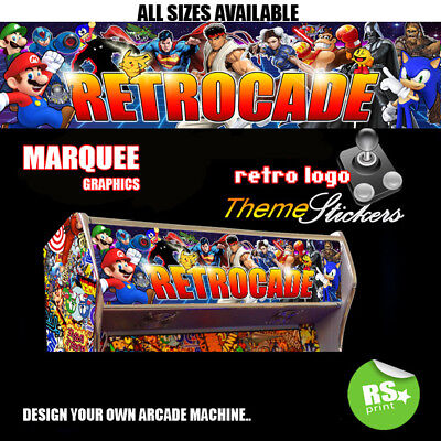 Retrocade Arcade Artwork Marquee Stickers Graphic / Laminated All Sizes