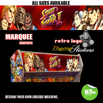 Street Fighter 2 V5  Arcade Marquee Stickers Graphic / Laminated All Sizes