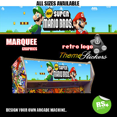 Super Mario Bros  Arcade Marquee Artwork Stickers Graphic / Laminated