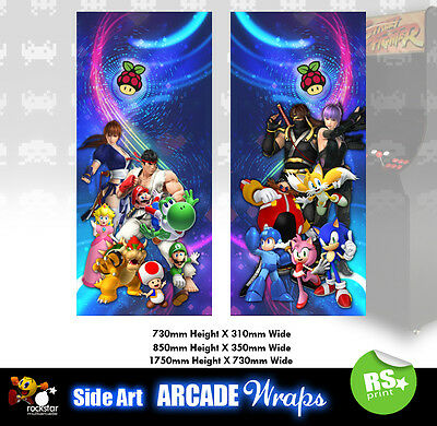 Retropie v2  Arcade Side Artwork  Panel Stickers Graphics / Laminated All Sizes