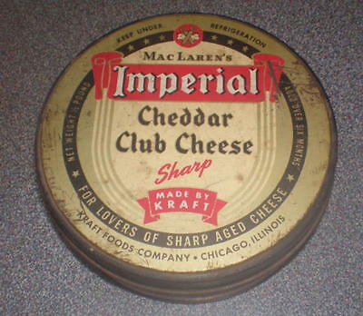 Vintage MacLaren's Imperial Cheddar Club Cheese Tin Kraft Foods Chicago