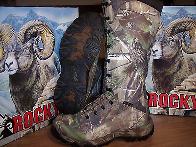 """New 16"""" Rocky Game Seeker Snake Proof Boots W'proof Realtree Lace Up Size 10M"""