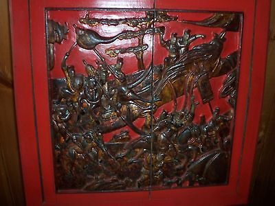 """ A Rare  Vintage Carved Chinese Panels Depicting Several Scenes"