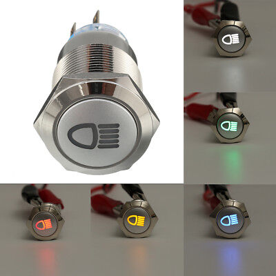 5 Pin 19mm LED Push Button Metal Latching Switch With Car Fog Lights ON/OFF 12V
