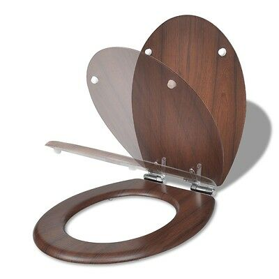 #WC Toilet Seat MDF Soft Close Lid Bathroom Replacement Simple Design Brown