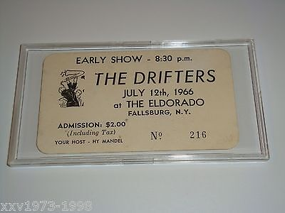 THE DRIFTERS 1966 UNUSED CONCERT TICKET At THE  ELDORADO Fallsburg New York USA